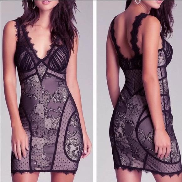 BEBE-V Neck Lace Black/Nude Bodycon Mini Dress